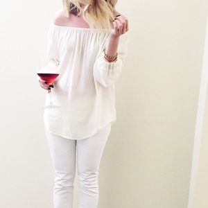 Flowy Cream off the shoulder blouse